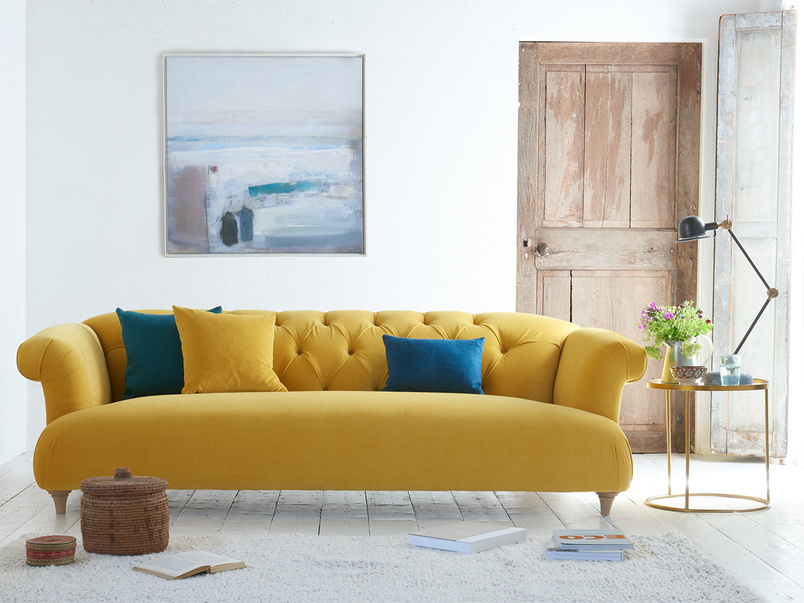 British made Dixie sofa in Bumble velvet is a modern and comfy chesterfield sofa