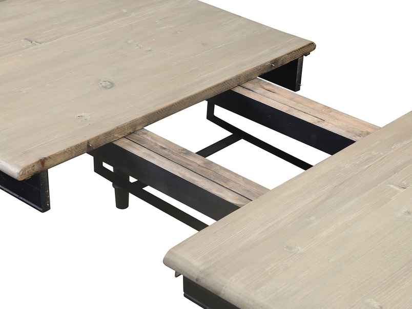 Expandable reclaimed wood extending dining table