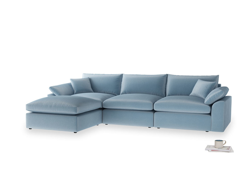 Large left hand Chaise Cuddlemuffin Modular Chaise Sofa in Chalky blue vintage velvet