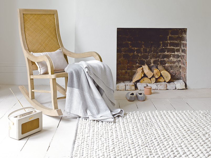 Bobble Knitted woven wool floor rug