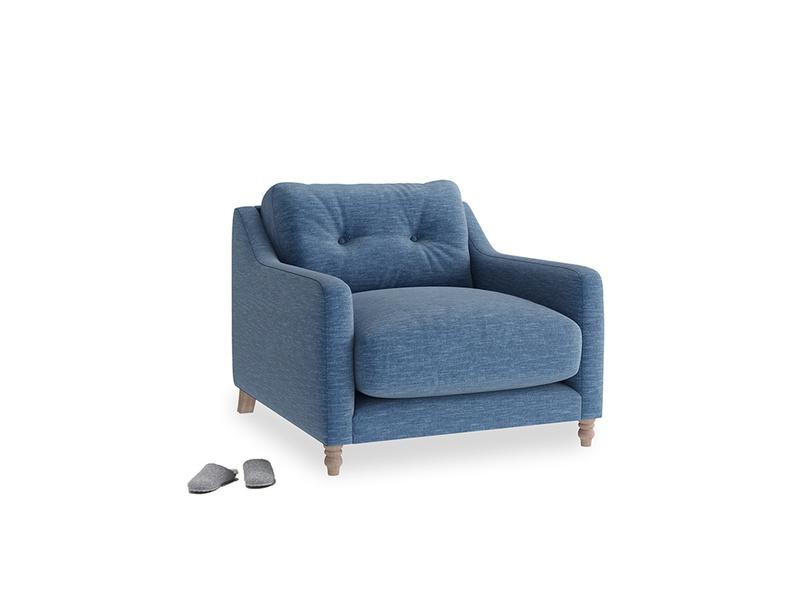 Slim Jim Armchair in Hague Blue cotton mix