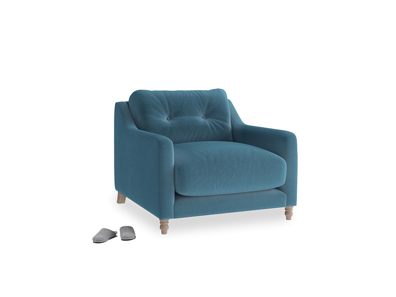Slim Jim Armchair in Old blue Clever Deep Velvet