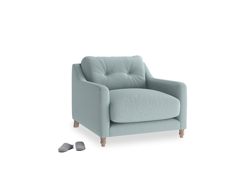 Slim Jim Armchair in Smoke blue brushed cotton
