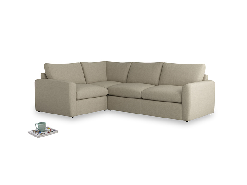 Large left hand Chatnap modular corner sofa bed in Jute vintage linen with both arms