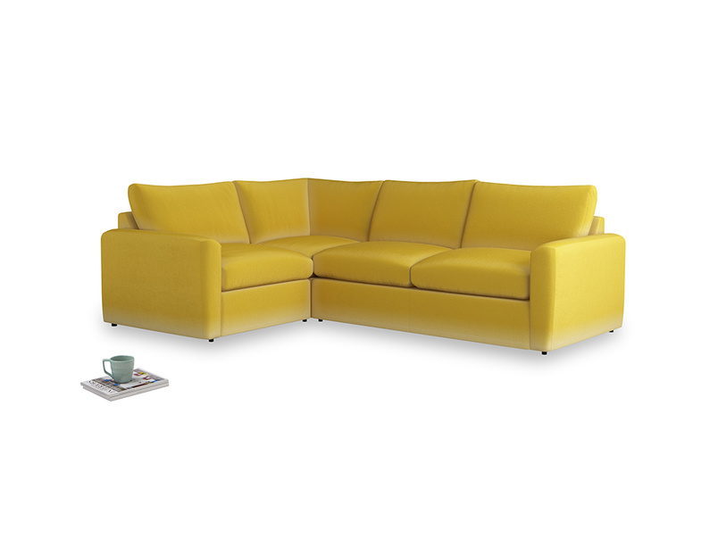 Large left hand Chatnap modular corner storage sofa in Bumblebee clever velvet with both arms