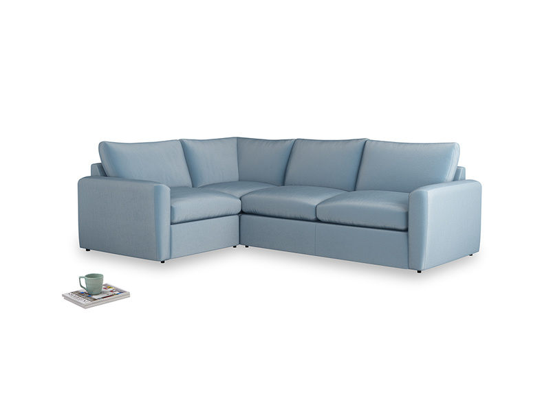 Large left hand Chatnap modular corner storage sofa in Chalky blue vintage velvet with both arms