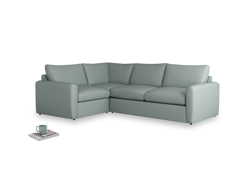 Large left hand Corner Chatnap modular corner storage sofa in Sea fog Clever Woolly Fabric with both arms