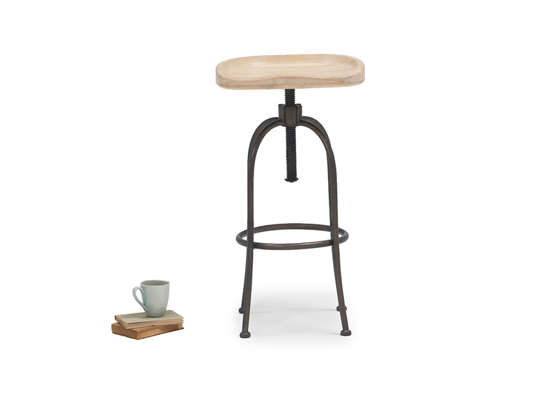 Tractor adjustable wooden bar stool
