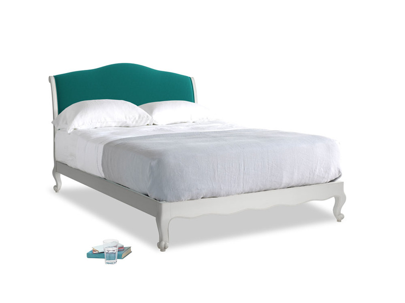 Kingsize Coco Bed in Scuffed Grey in Indian green Brushed Cotton