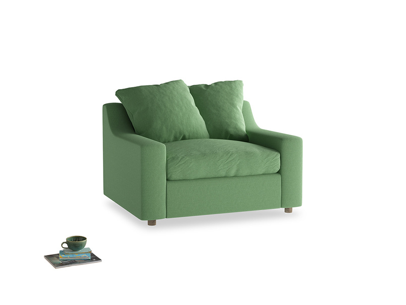 Love Seat Sofa Bed Cloud love seat sofa bed in Clean green Brushed Cotton