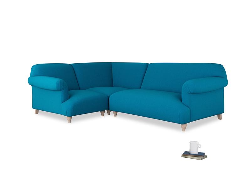 Large left hand Corner Soufflé Modular Corner Sofa in Bermuda Brushed Cotton and both Arms