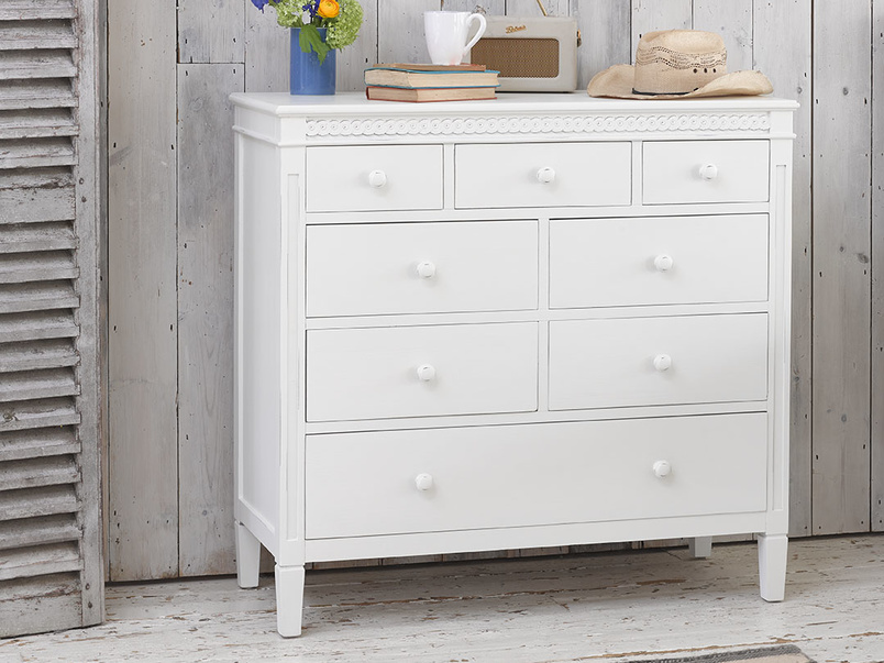 Painted childrens Ludo bedroom chest of drawers in off-white