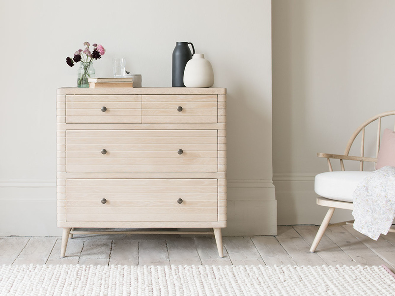 Groover bleached oak curved chest of drawers