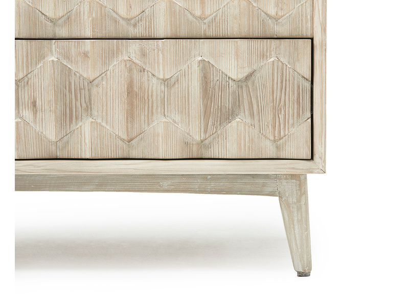 Orinoco patterned wood chest of drawers