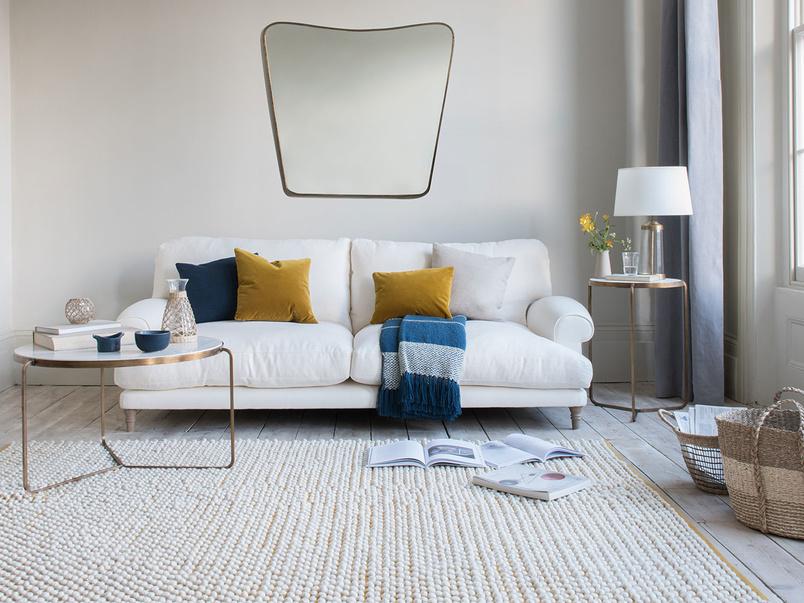 Bobble woven floor rug in Burnt Yellow