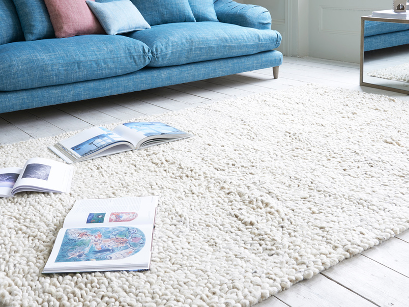 Handmade and knitted Shaggy floor rug