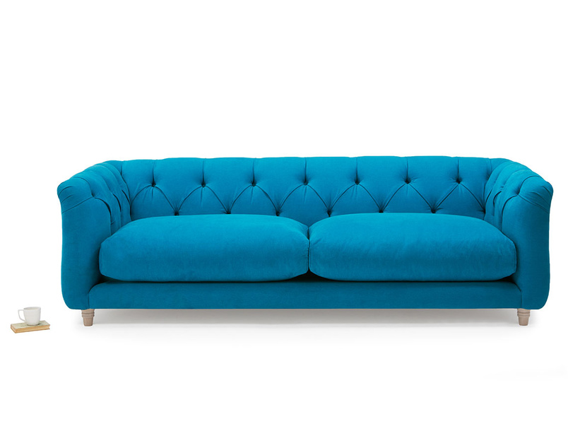 Boho upholstered button back sofa