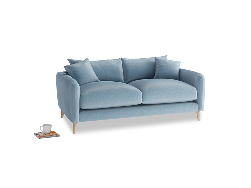 Small Squishmeister Sofa in Chalky blue vintage velvet