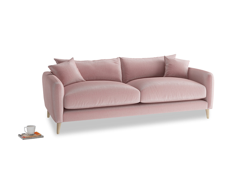 Medium Squishmeister Sofa in Chalky Pink vintage velvet