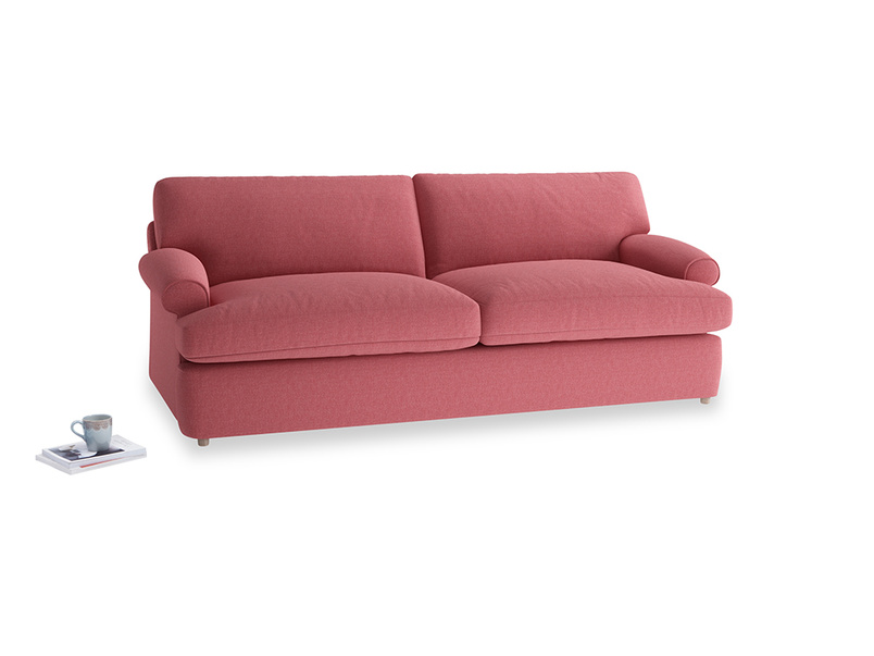 Large Slowcoach Sofa Bed in Raspberry brushed cotton