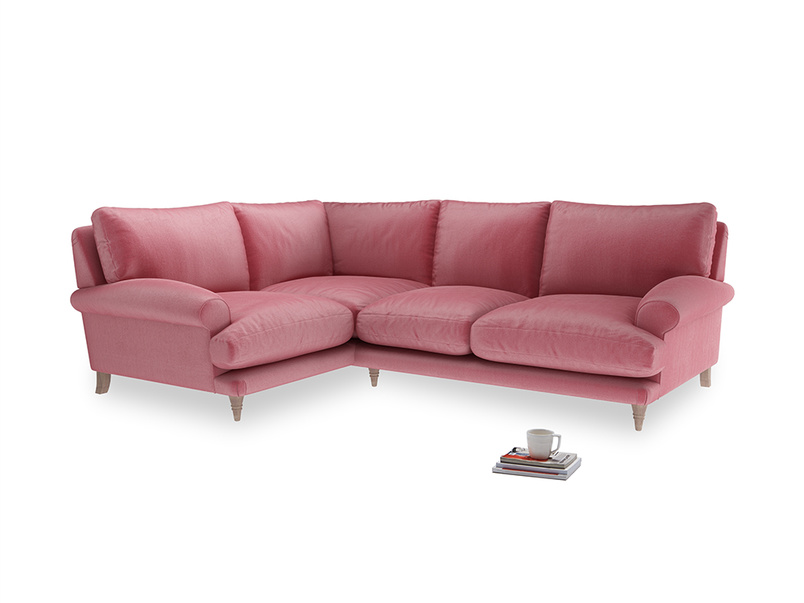 Large Left Hand Slowcoach Corner Sofa in Blushed Pink Vintage Velvet
