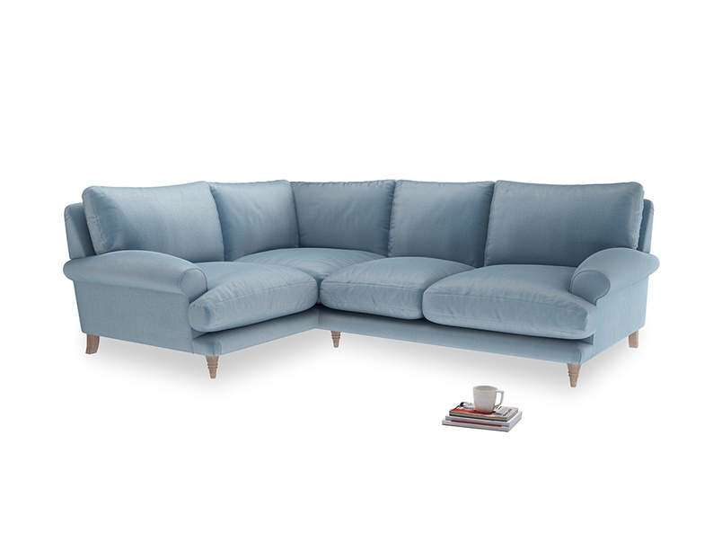 Large Left Hand Slowcoach Corner Sofa in Chalky blue vintage velvet
