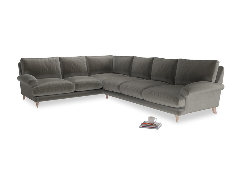XL Left Hand Corner Slowcoach Corner Sofa in Slate clever velvet