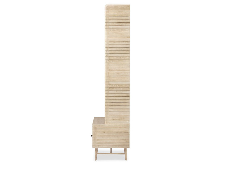 Little Bubba small wooden blonde shelving unit side detail