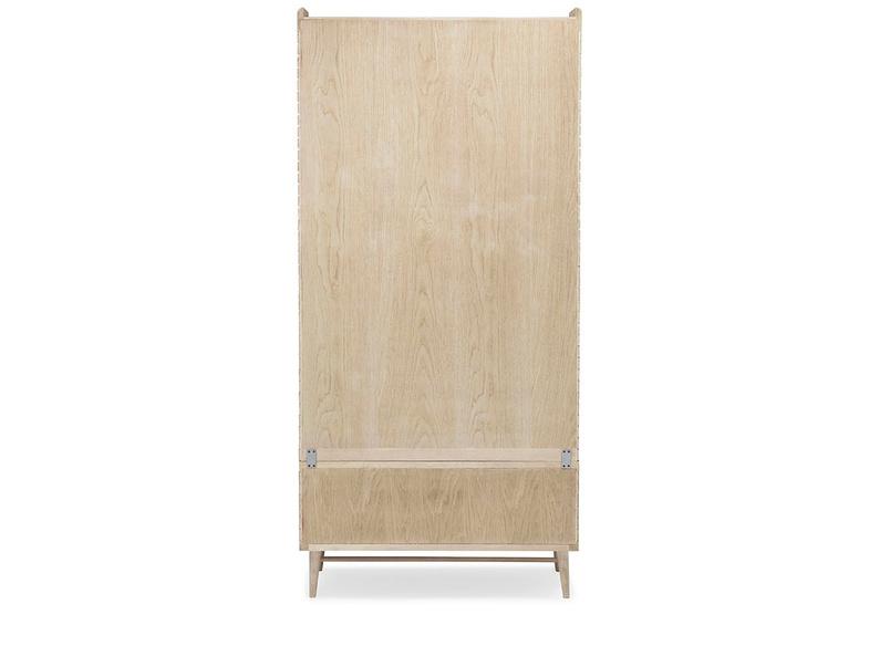 Big Bubba blonde oak wooden shelves back detail