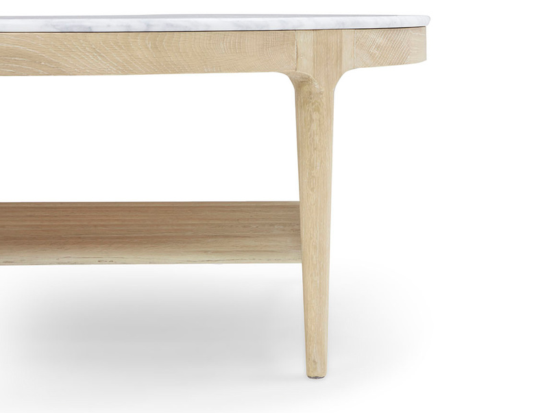 Marmo coffee table with marble top and wooden oak base
