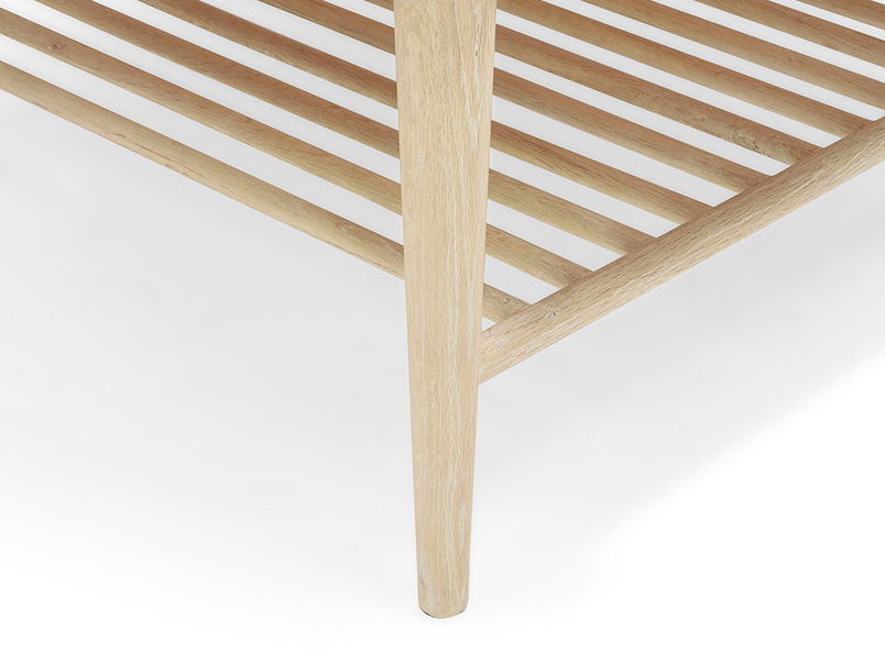 Marmo marble top coffee table with oak wood leg detail