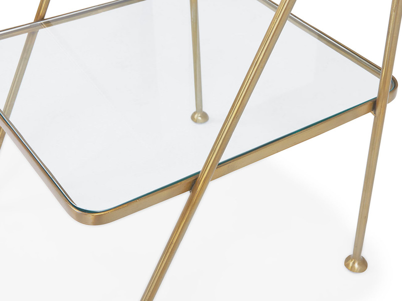 Scala brass and glass shelf antique style bedside table