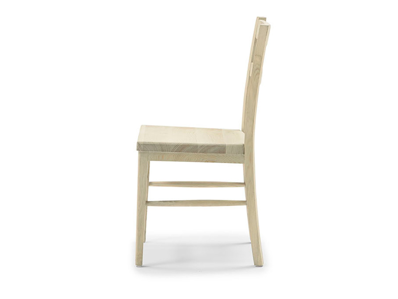 Idler wooden dining room chair side detail