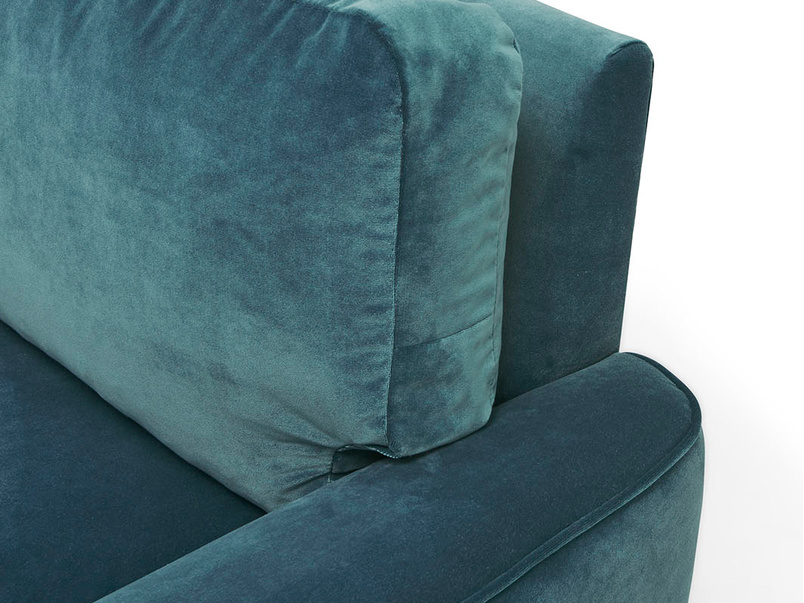Strudel contemporary low arm love seat arm detail
