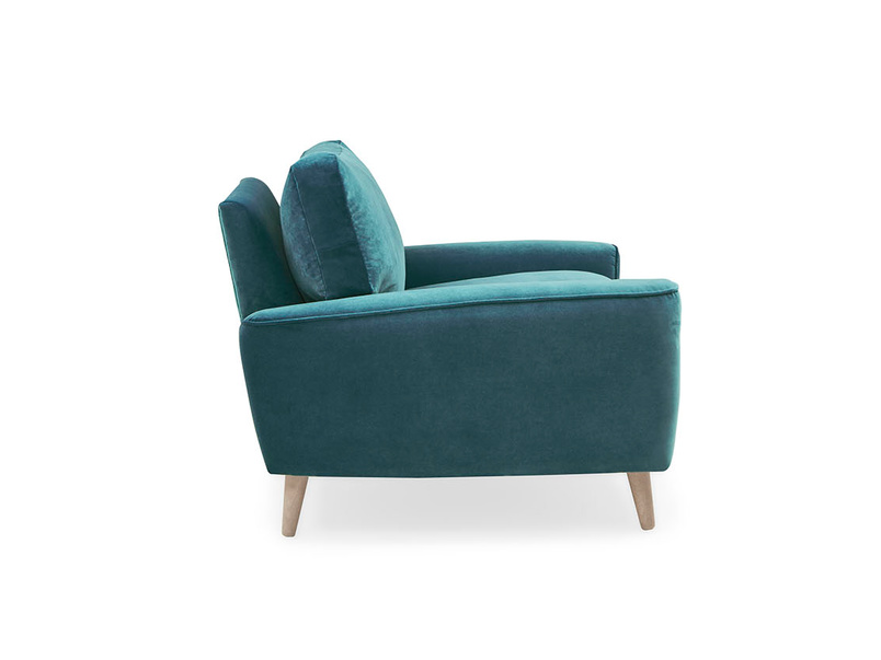 Strudel upholstered love seat side detail