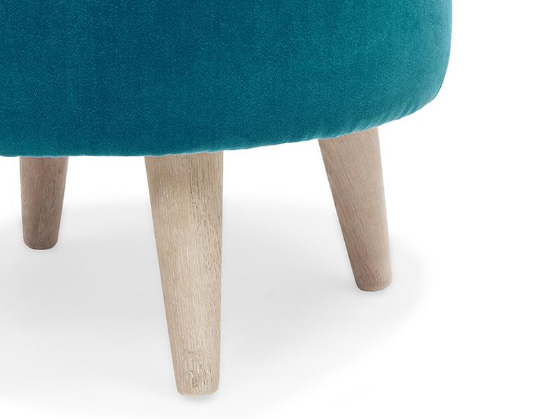 Footdoggle small round upholstered footstool