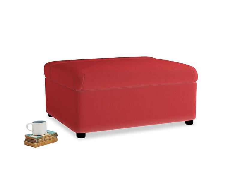 Single Bed In A Bun Daybed in True Red Plush Velvet