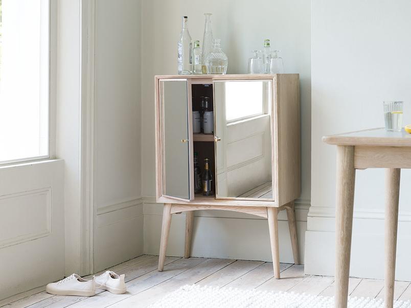 Trixie mirrored modern drinks cabinet