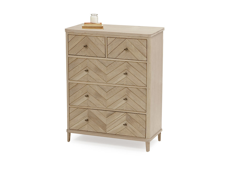 Large Young Flapper parquet pattern chest of drawers