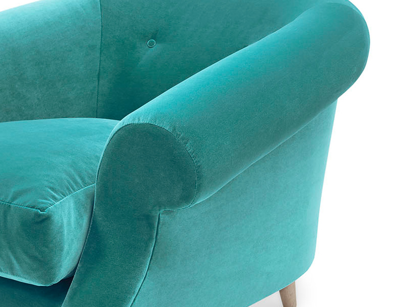 Schnaps tub upholstered armchair arm detail