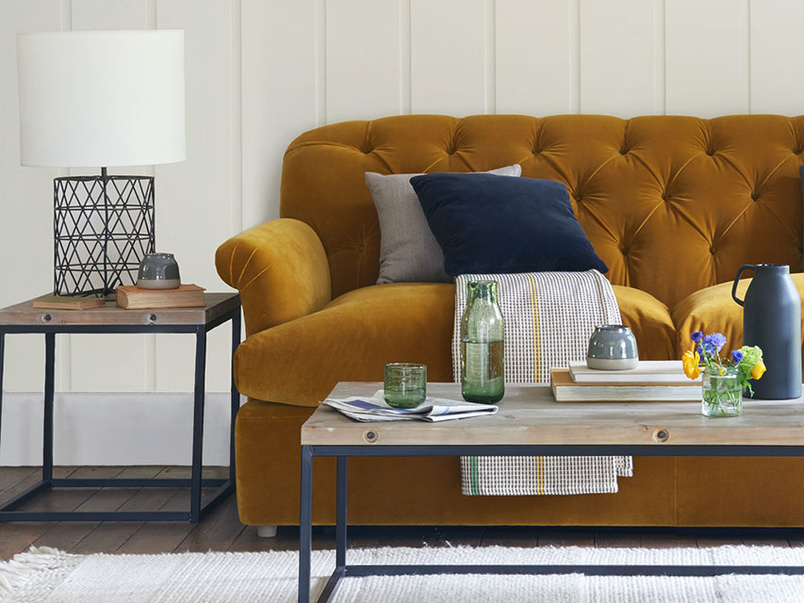 Truffle button back upholstered sofa bed
