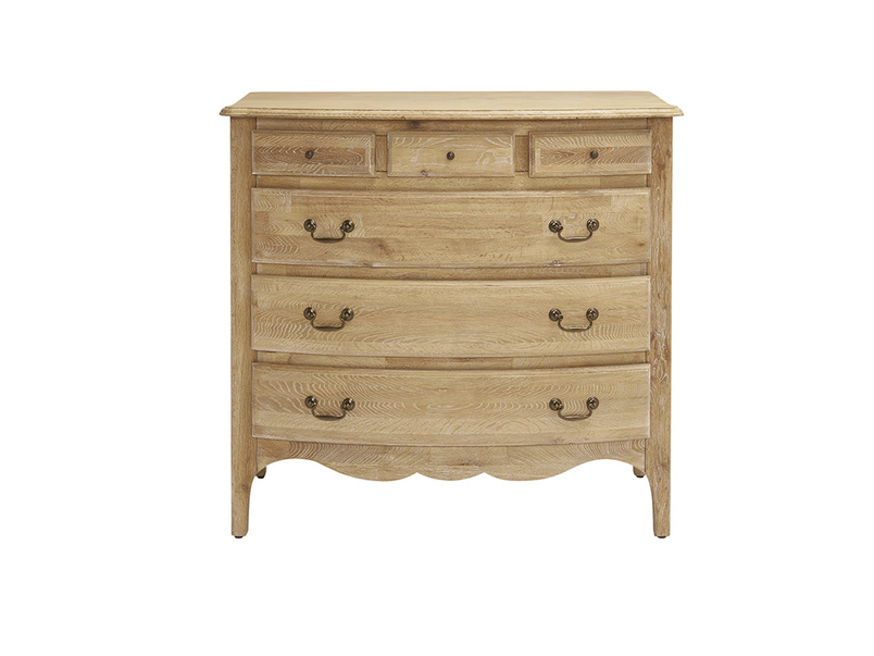 Audrie bedroom chest of drawers in solid oak in a French antique style