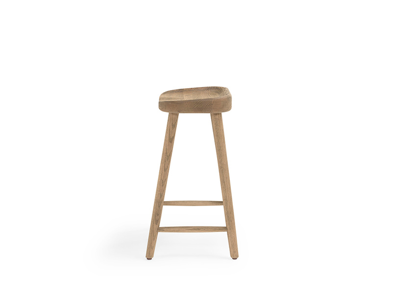 Wooden kitchen stool handmade from sourced smoked oak