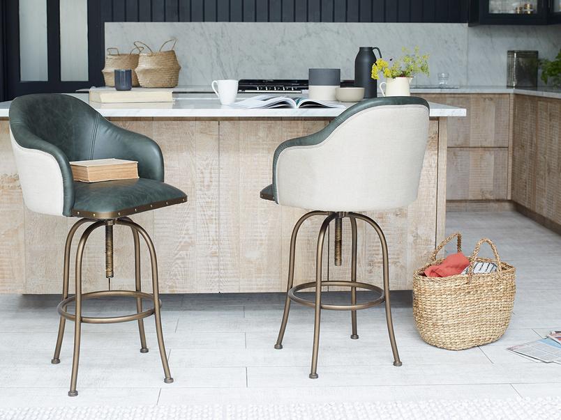 Milk leather kitchen bar stools