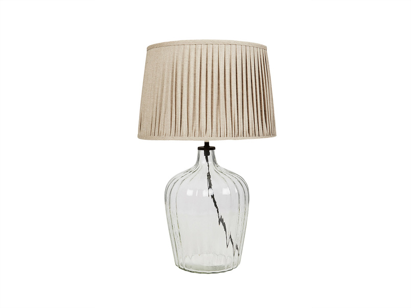 Medium Flute Table Lamp with Natural Linen shade