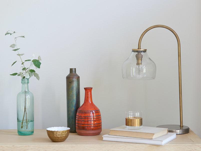 Cowbell glass bedside light