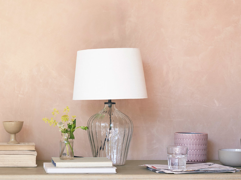 Flute small glass table lamp with Natural hessian shade