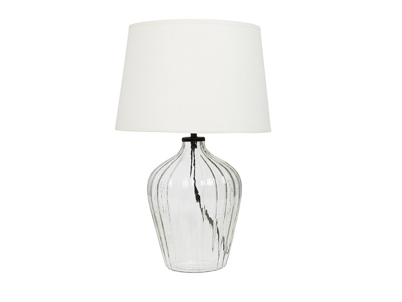 Flute small glass table lamp with Hessian shade
