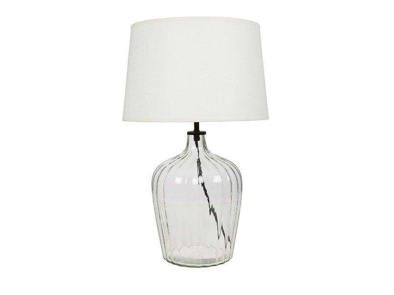 Flute glass table lamp Natural hessian shade