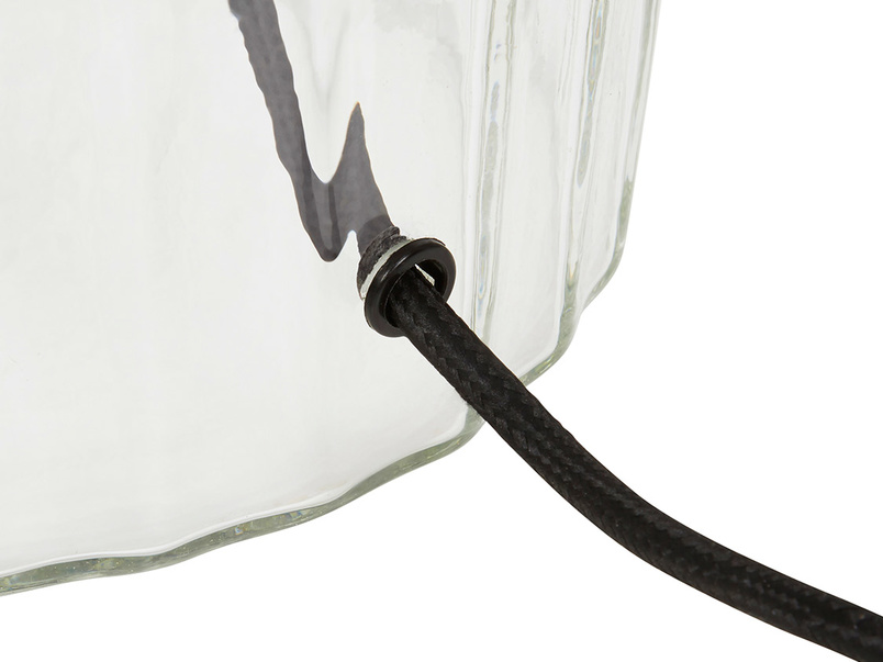 Flute glass table lamp wire detail